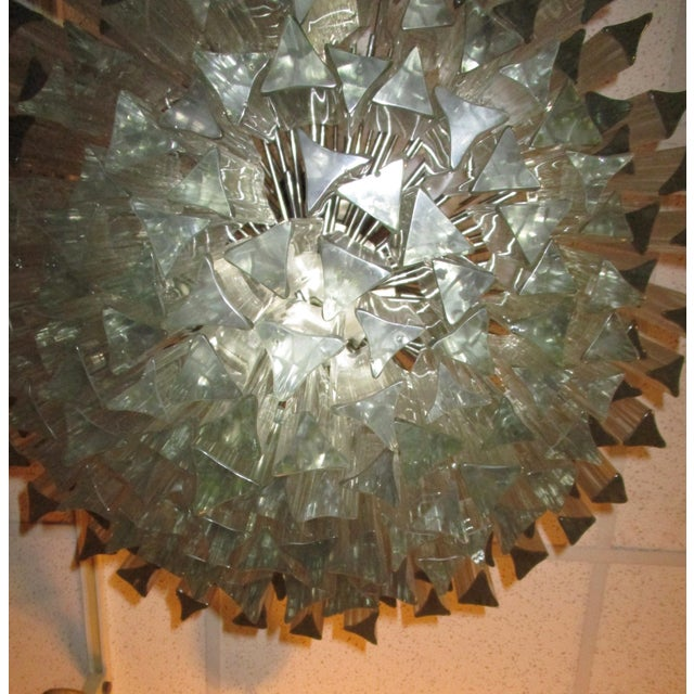1960's Chrome and Crystal Drops Chandelier For Sale - Image 5 of 6