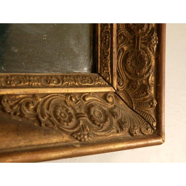 Petite All Original 18th C. Antq French Gilt Framed Sugar Mirror For Sale - Image 9 of 12