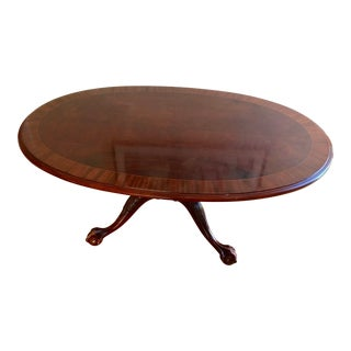 1980's Vintage Ethan Allen Banded Oval Ball Claw Coffee Table For Sale