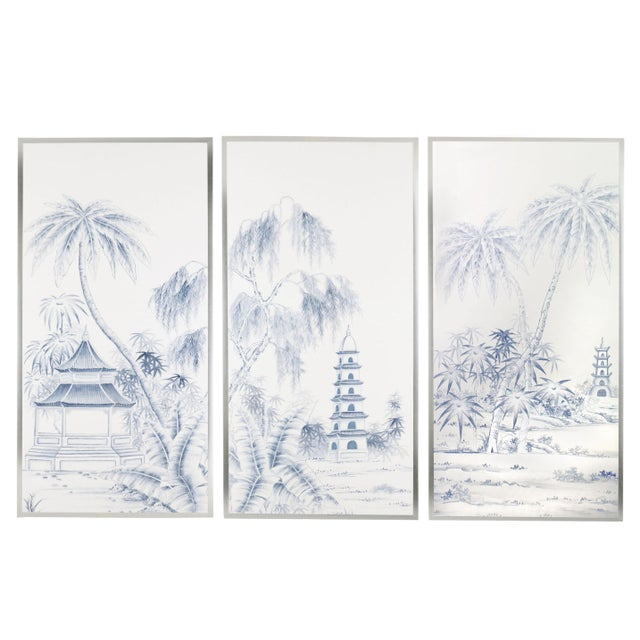 Not Yet Made - Made To Order Jardins en Fleur Blue & White Pagoda Garden Triptych Paintings on Silk - Set of 3 For Sale - Image 5 of 5