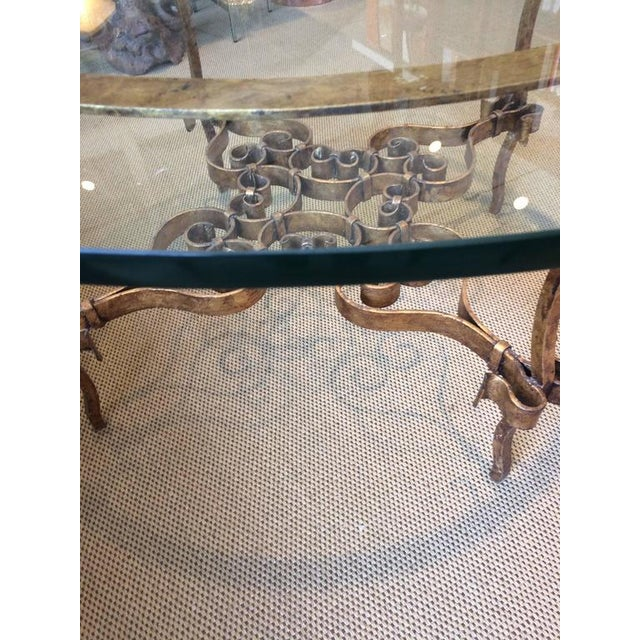 Italian Italian Gilt Metal & Glass Round Table For Sale - Image 3 of 5