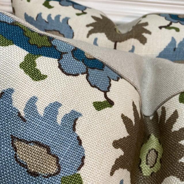 "Brunschwig & Fils Brunschwig & Fils ""Kashmiri Linen Print Teal/Taupe"" 22"" Pillows-A Pair For Sale - Image 4 of 7"