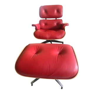 Red Eames Lounge Chair & Ottoman
