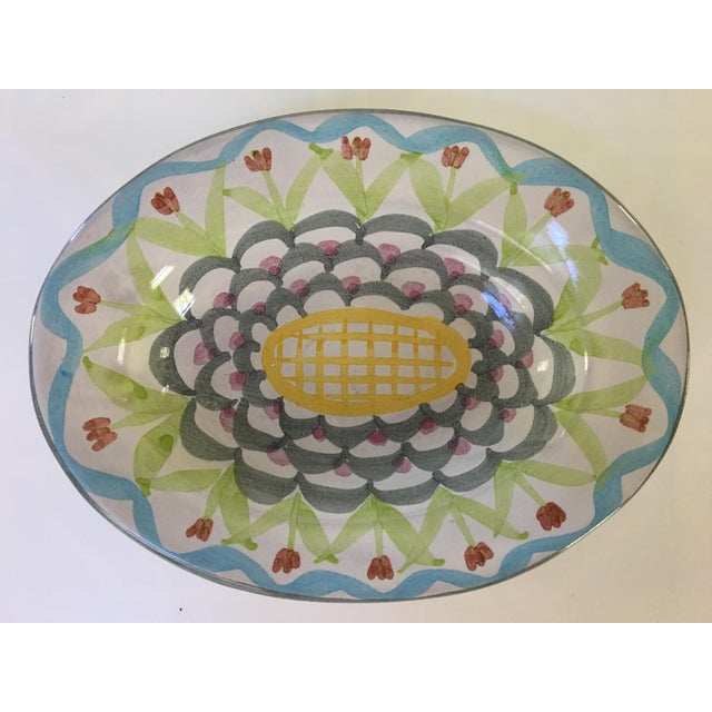 Fun, oval pottery soap dish or catchall from MacKenzie-Childs Company. This lovely pottery piece was hand painted by...