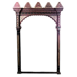 Moorish Red and Gold Painted Archway For Sale