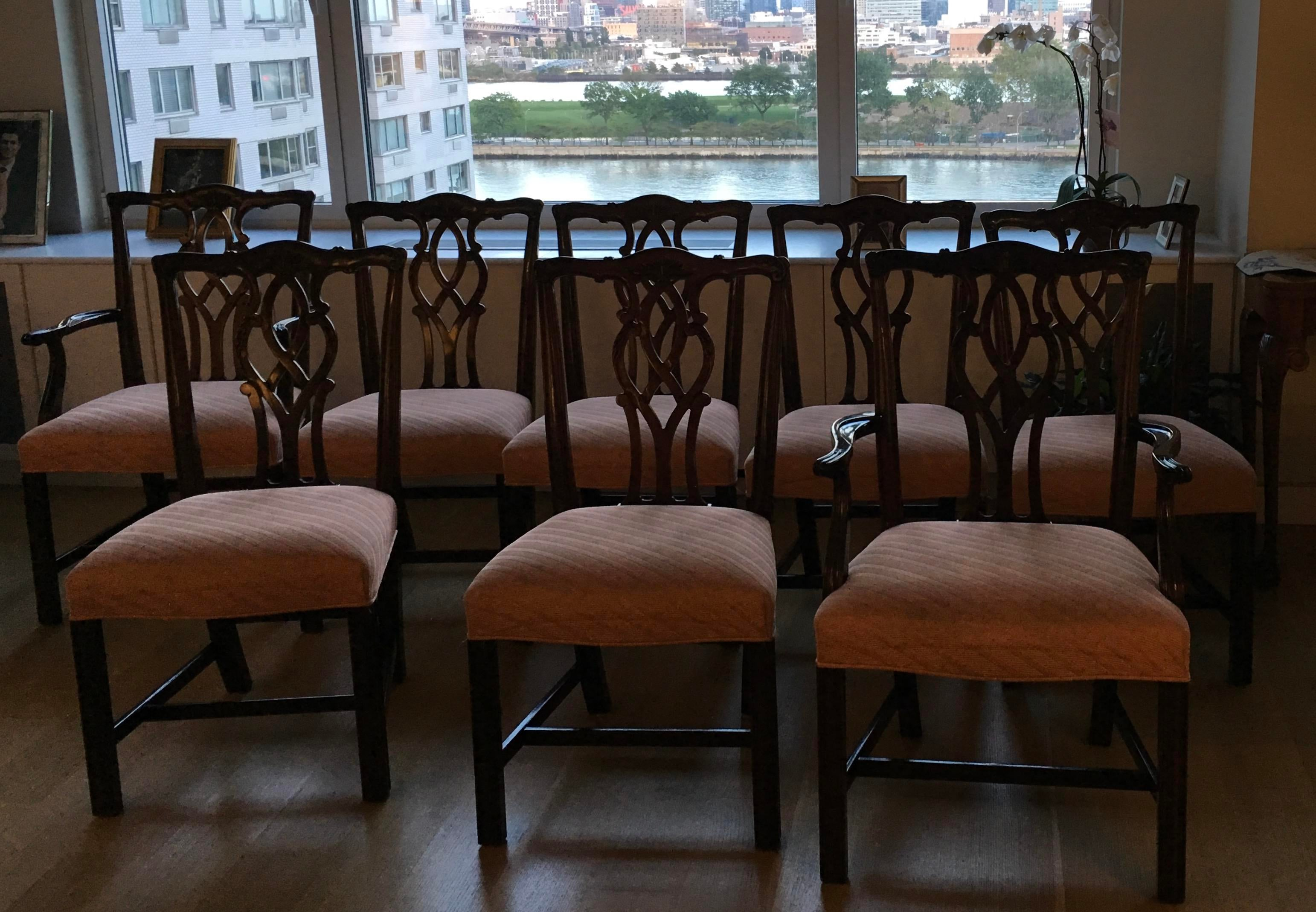 Chippendale Set Of 8 Kindel Chippendale Dining Chairs: 6 Side Chairs, 2 End  Chairs