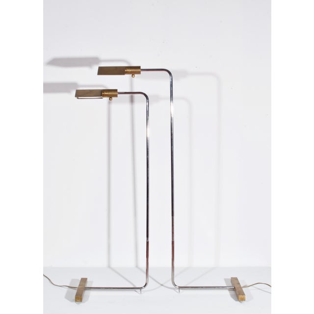 1960s Cedric Hartman Early Brass and Chrome Swivel Floor Lamps, 1960's - a Pair For Sale - Image 5 of 10