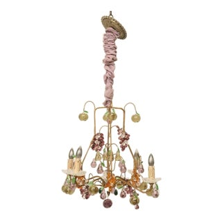 French Four-Light Crystal Fruit Chandelier, circa 1920 For Sale
