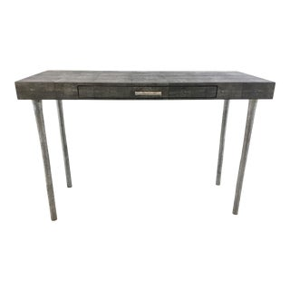 Made Goods Modern Audrey Black and White Shagreen Writing Desk For Sale