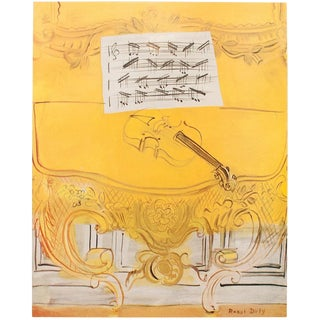"1950s ""Yellow Console With a Violin"" Lithograph Print by Raoul Dufy For Sale"
