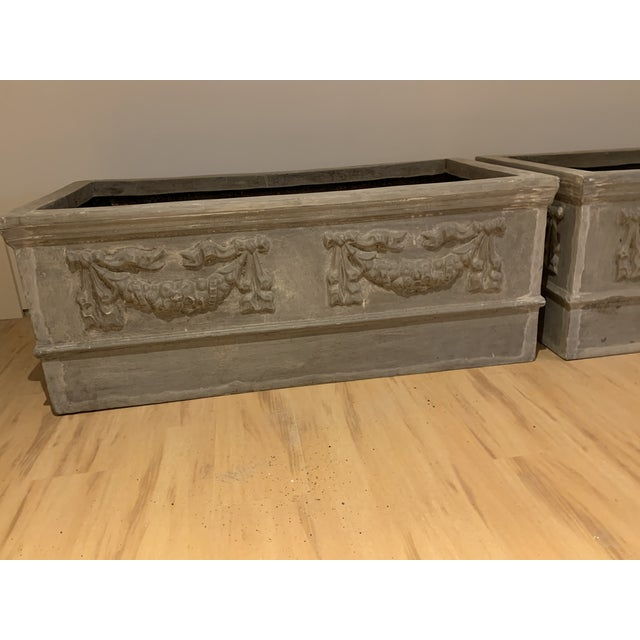 Grand Classical Planters With Swag Detailing in Faux Lead Resin - a Pair For Sale In Portland, ME - Image 6 of 10