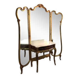 Antique Argentinian Tri-Fold Mirror With Dressing Table For Sale