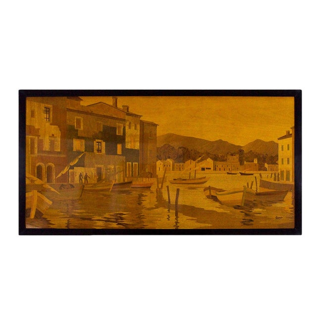 1940s Large Decorative Panel by Rosenau, Fishing Port Scene, Marquetry, France For Sale
