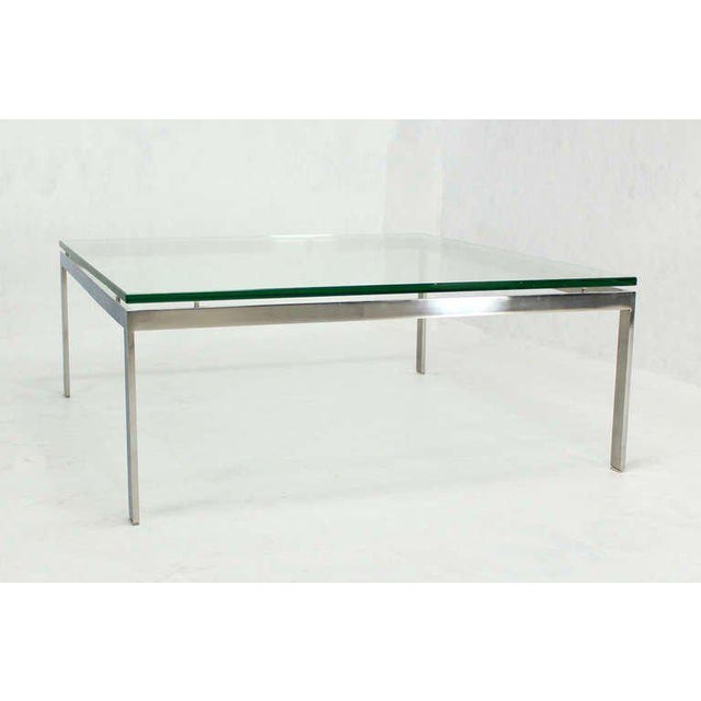 Mid-Century Modern Style Large Square Stainless Base and Glass-Top Coffee Table For Sale - Image 6 of 9