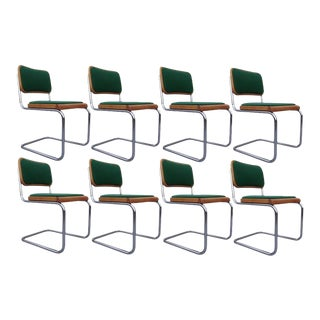 Mid-Century Modern Green Marcel Breuer Cesca Chairs, Made in Italy - Set of 8 For Sale