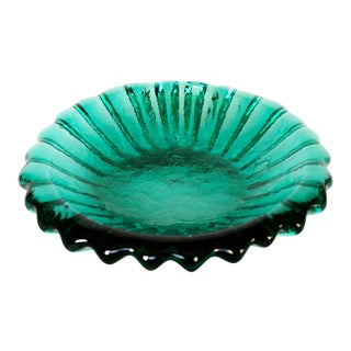 Blenko|• #6112 Sea Green Ribbed Bowl - Mid-Century Modern Catchall - Art Glass Dish - Retro Ashtray - Color Pop Centerpiece For Sale