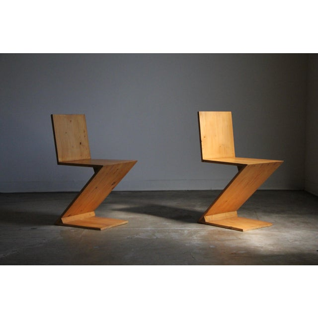 Vintage Gerrit Rietveld Style Zig Zag Chairs - a Pair For Sale - Image 11 of 13