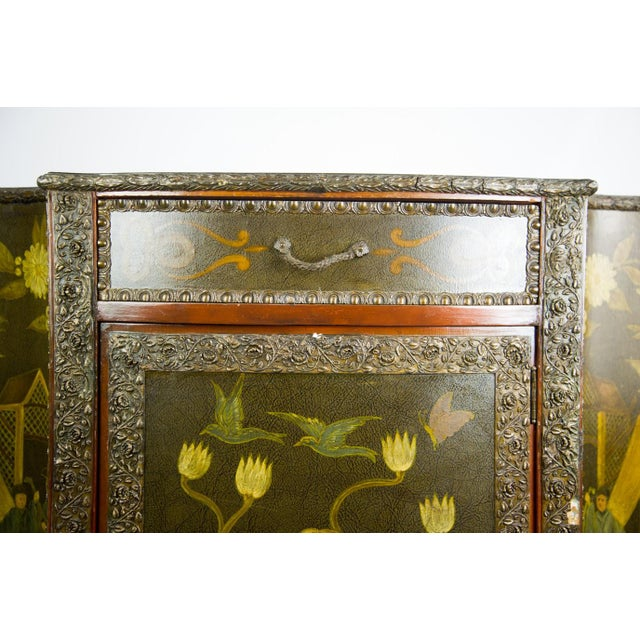 Brown 20th C. Chinoiserie Carved Mahogany Console Cabinet For Sale - Image 8 of 13