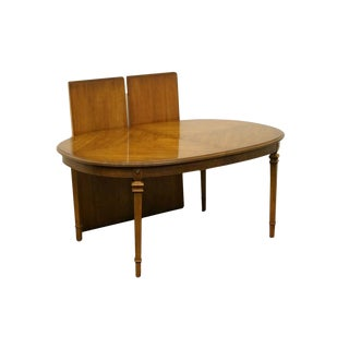Late 20th Century Vintage French Regency Style Bookmatched Fruitwood Dining Table For Sale