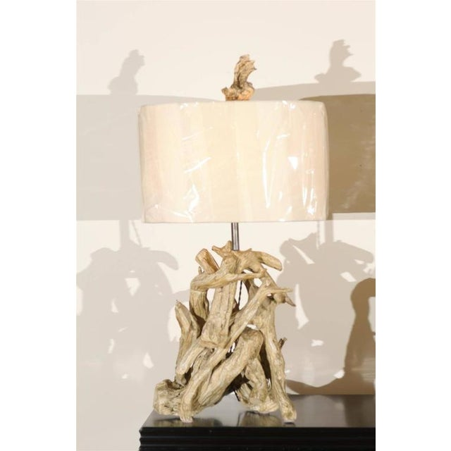 Traditional Restored Pair of Large-Scale Vintage Driftwood Lamps in Gesso For Sale - Image 3 of 10