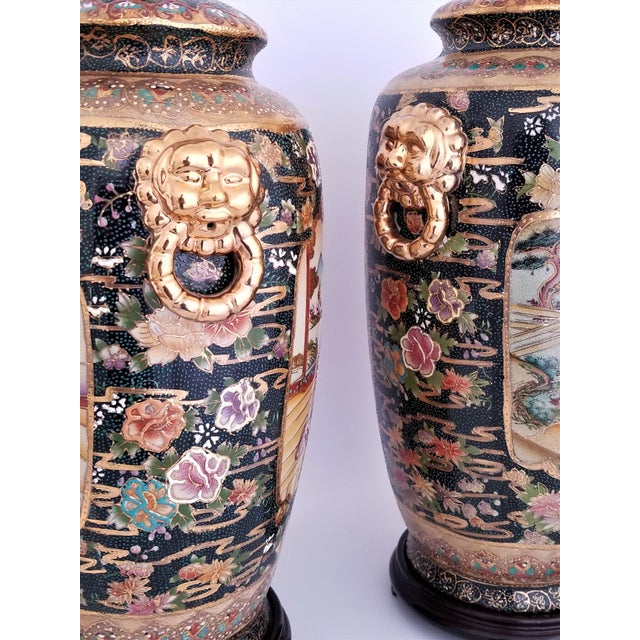 Vintage Contemporary Chinese Export Ceramic Porcelain Lamps - a Pair For Sale - Image 10 of 13