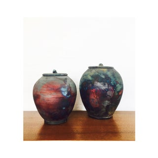 Large Raku Pottery Containers - Set of 2