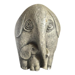 Gray Stone/Chalkware Mother & Baby Elephant Figurine