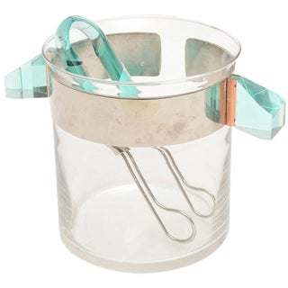 Italian Murano Signed Guzzini Lucite, Chrome and Glass Ice Bucket