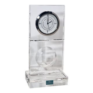 Hoya Crystal Art Deco Contemporary Battery Clock For Sale