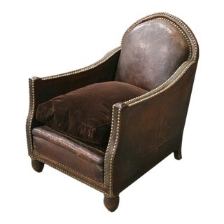 1880 French Leather With Nailhead Trim and Velvet Seat Cushion Club Chair
