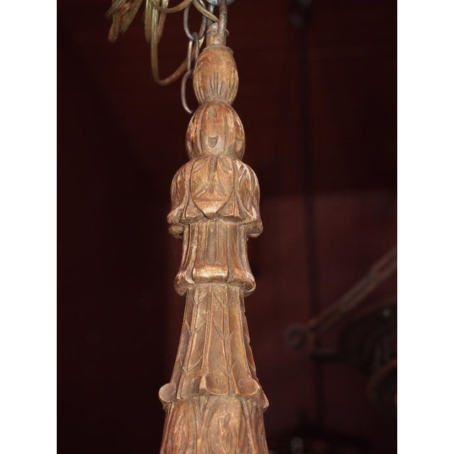 1900 - 1909 Antique French Gilt Wood and Iron Chandelier For Sale - Image 5 of 12