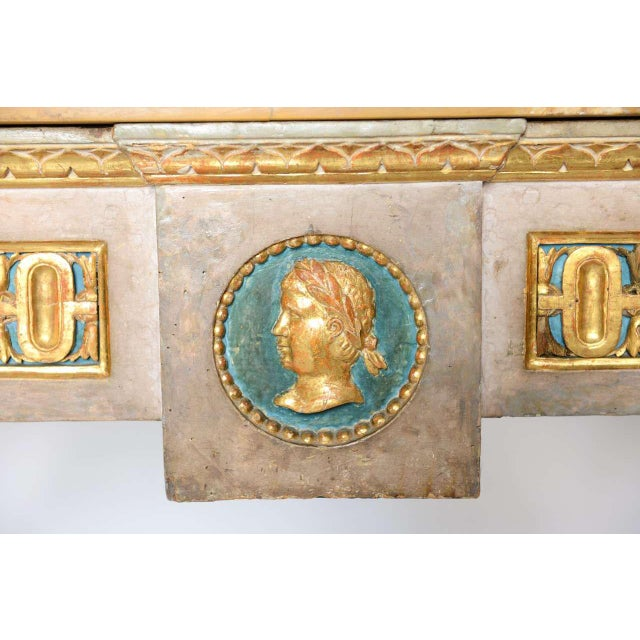 Fine Italian Neoclassic Painted and Parcel-Gilt Console, Roman Late 18th Century For Sale - Image 10 of 11