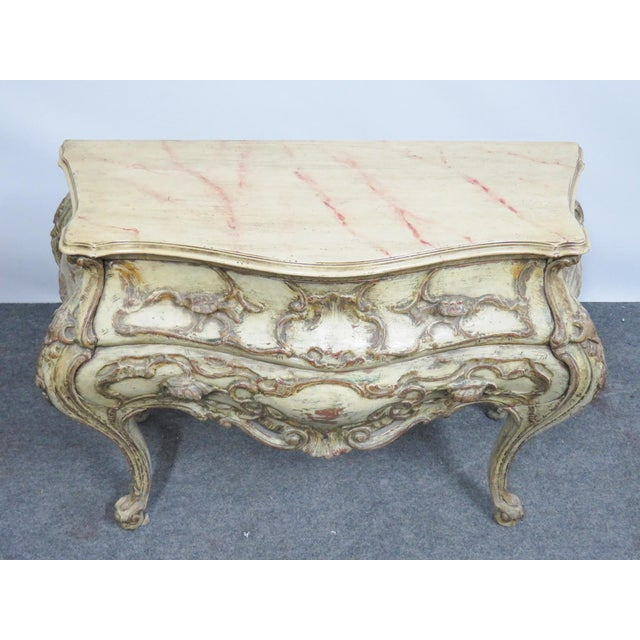 Italian Bombay Carved Paint Distressed Commode For Sale - Image 4 of 5
