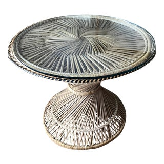 Vintage Rattan Hour Glass Side Table Made in the Philippines