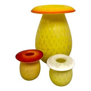 Mid-Century Handblown Mushroom Glass Stem Vases - Set of 3 For Sale