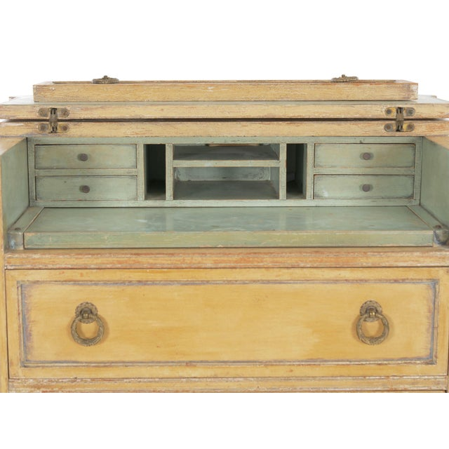 Circa 1940s French Louis XVI Style Antique Painted Desk Over Chest of Drawers For Sale - Image 11 of 13