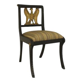 Set of 12 American Federal style (20th Cent) ebonized side chairs