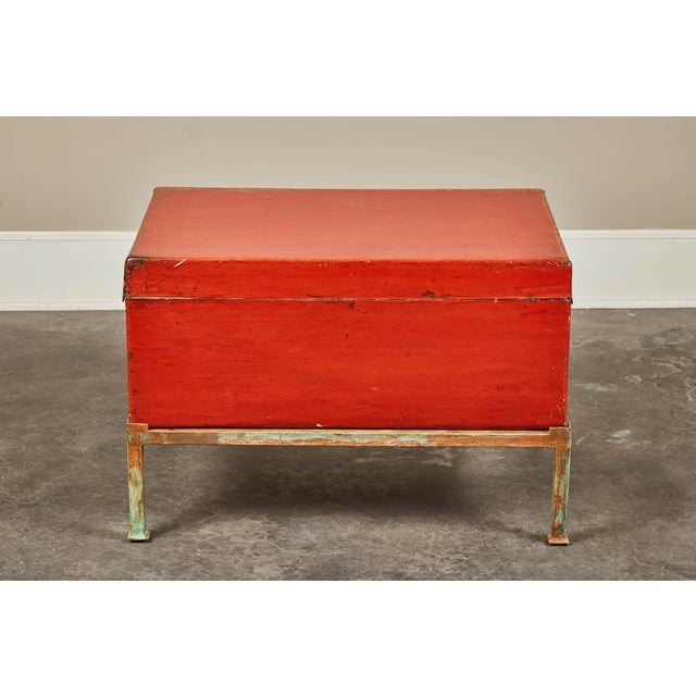 Red Lacquer Pig-Skin Leather Camphor Trunk on Stand For Sale - Image 4 of 9