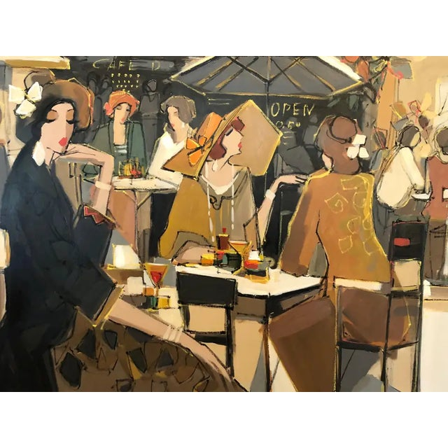 Canvas Very Large Original French Cafe Scene Painting by Isaac Maimon For Sale - Image 7 of 11