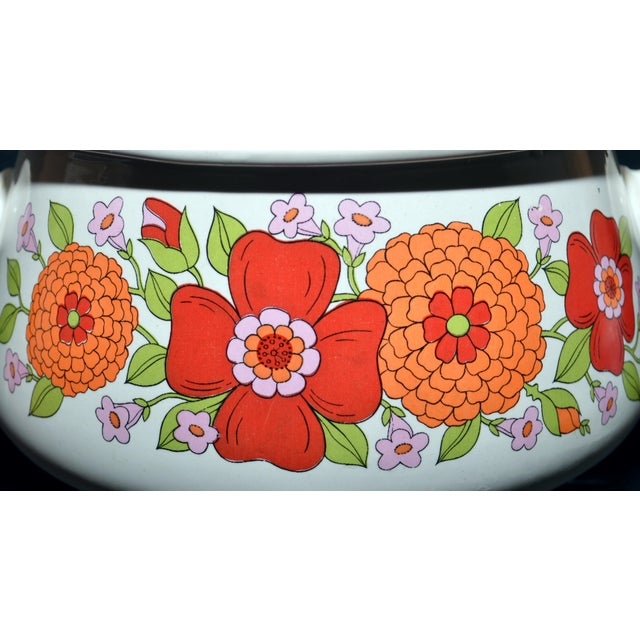 Ovenproof stoneware chafing dish, made in Japan. 5 pieces: pot, lid, underplate stand and sterno. Striking red and orange...