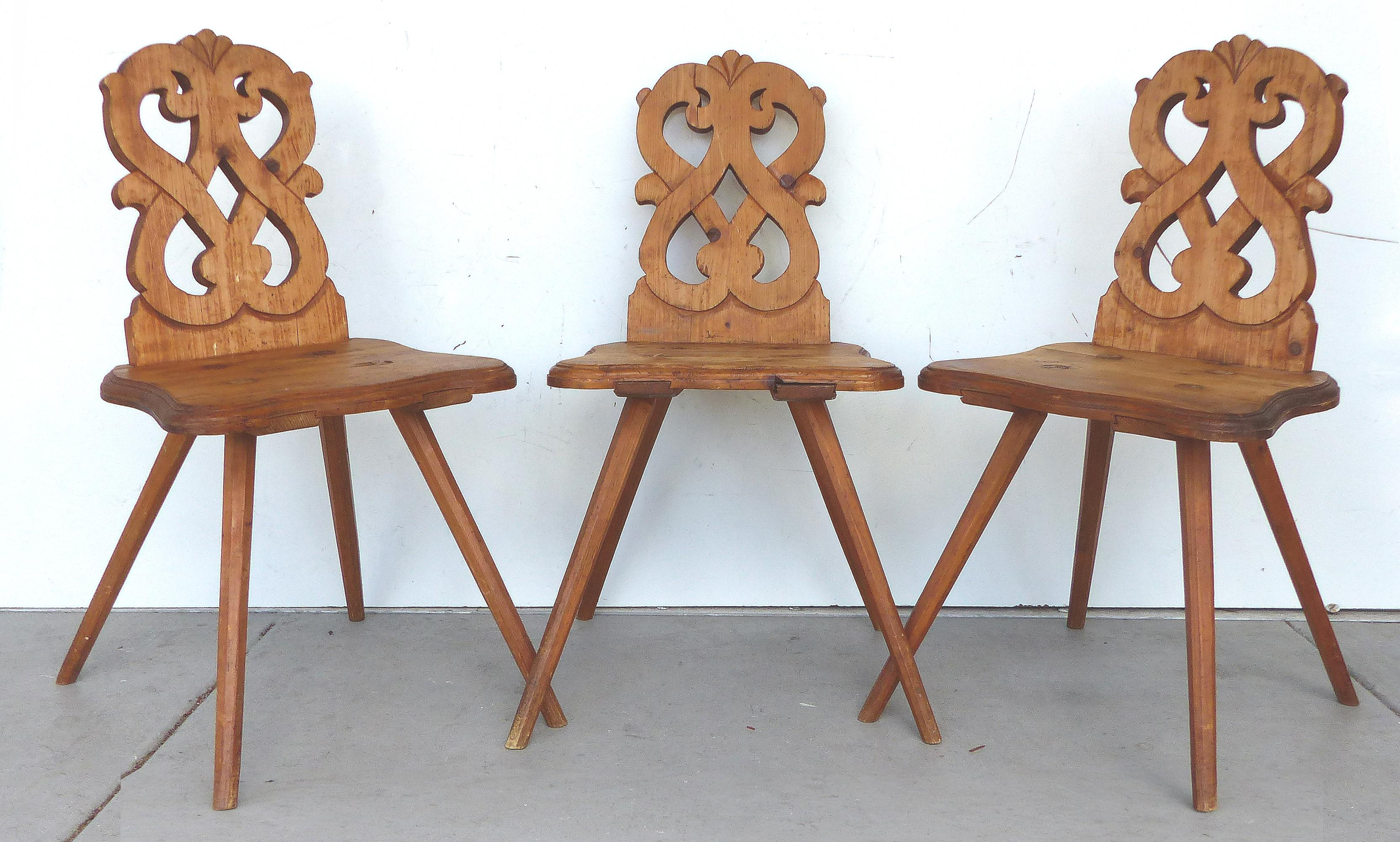 1920u0027s Bavarian Country Pine Chairs   Set Of 3   Image 2 ...