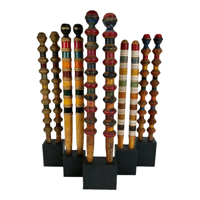 Antique and Vintage Colorful Croquet Posts in Custom Block Stands - Set of 10 - Image 1 of 11