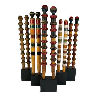 Vintage Croquet Posts in Custom Block Stands - Set of 10
