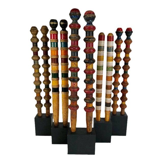 Vintage Croquet Posts in Custom Block Stands - Set of 10 - Image 1 of 11