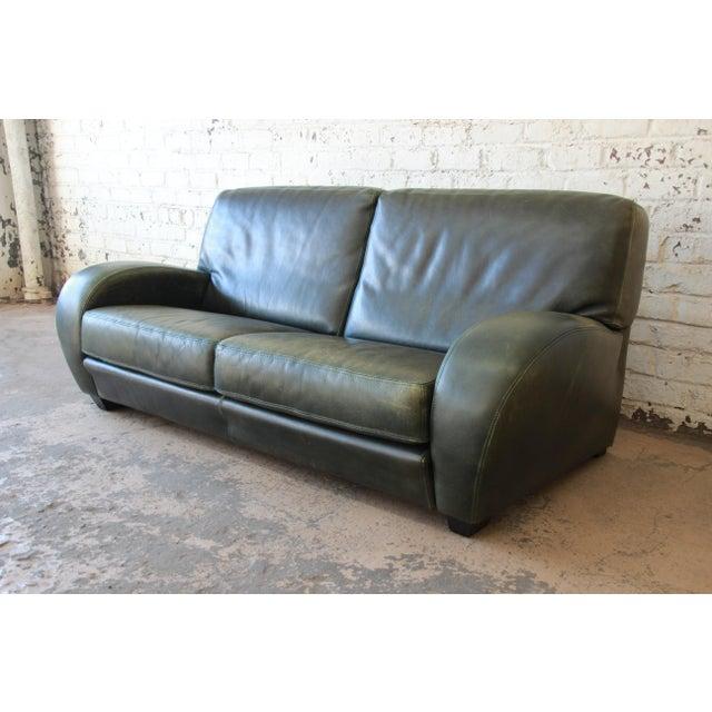 Art Deco Roche Bobois Art Deco Green Leather Sofa For Sale - Image 3 of 8