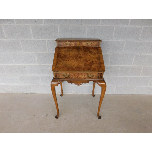 """Weiman Georgian Queen Anne Style Walnut Slant Front Writing Desk 41""""h X 26""""w For Sale - Image 12 of 12"""