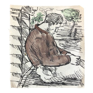 1950s Vintage Man Sleeping in a Plaza Watercolor Painting For Sale