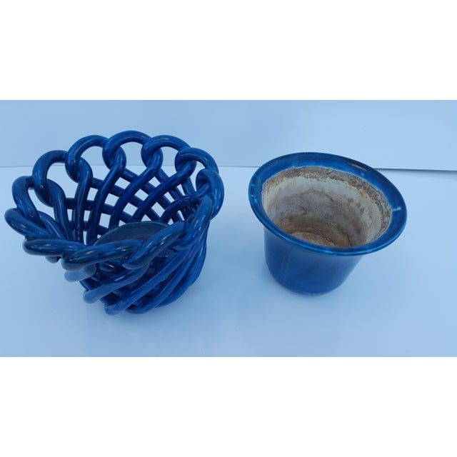 Vintage Blue Turquoise Decorative Planter Pot. For Sale In Miami - Image 6 of 8