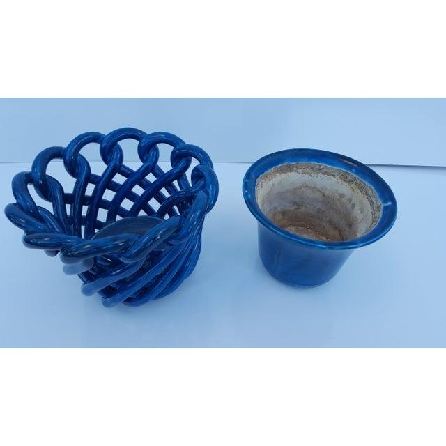 Vintage Blue Turquoise Decorative Planter Pot. - Image 6 of 8