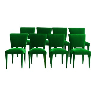 Stiletto Dining Chairs Upholstered in Emerald Mohair - Set of 8 For Sale